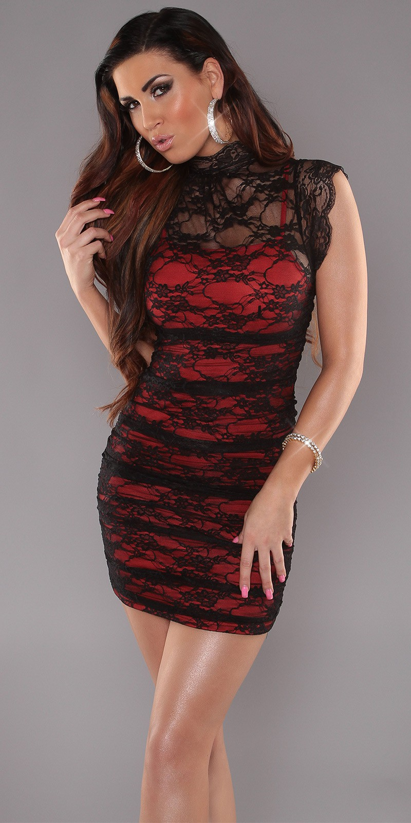 Black Red Sexy Minidress 2in1 With Banded Collar