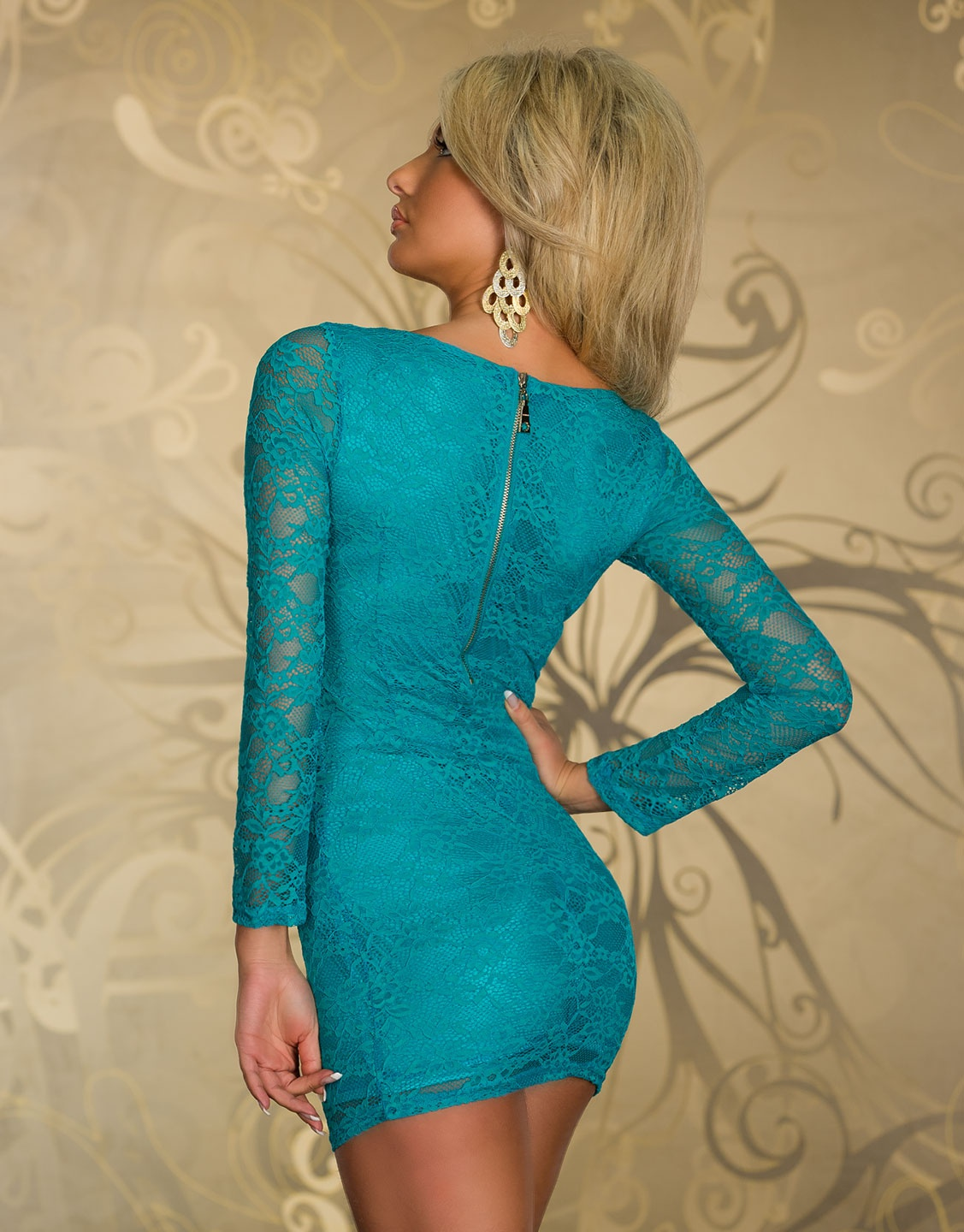 Petrol Lace Bodycon Mini Dress With Long Sleeves