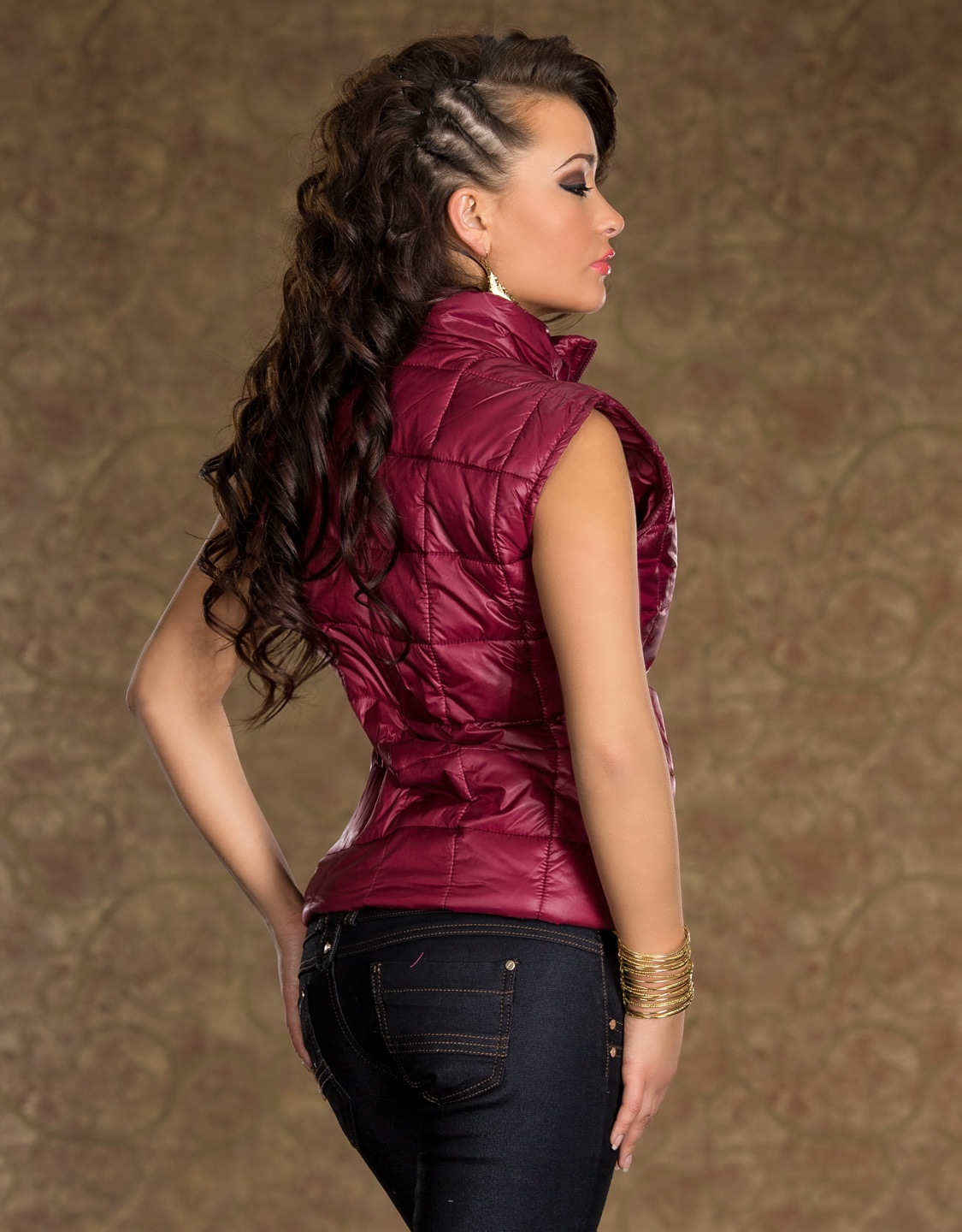 Red Swollen Zippered Vest