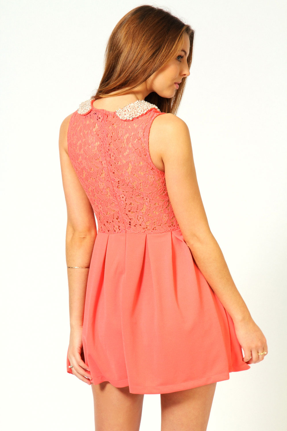 Anna Heavy Embellished Lace Back Skater Dress