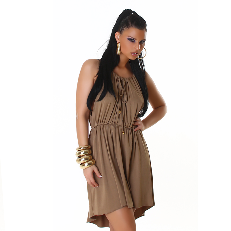 Mocha Sleeveless Summer Sun-Dress