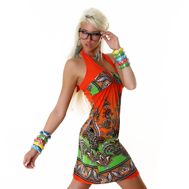 Orange-Green Short Halter Paisley Summer Dress
