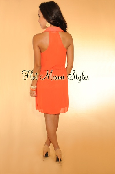 Coral Sleeveless Racer-Back Dress