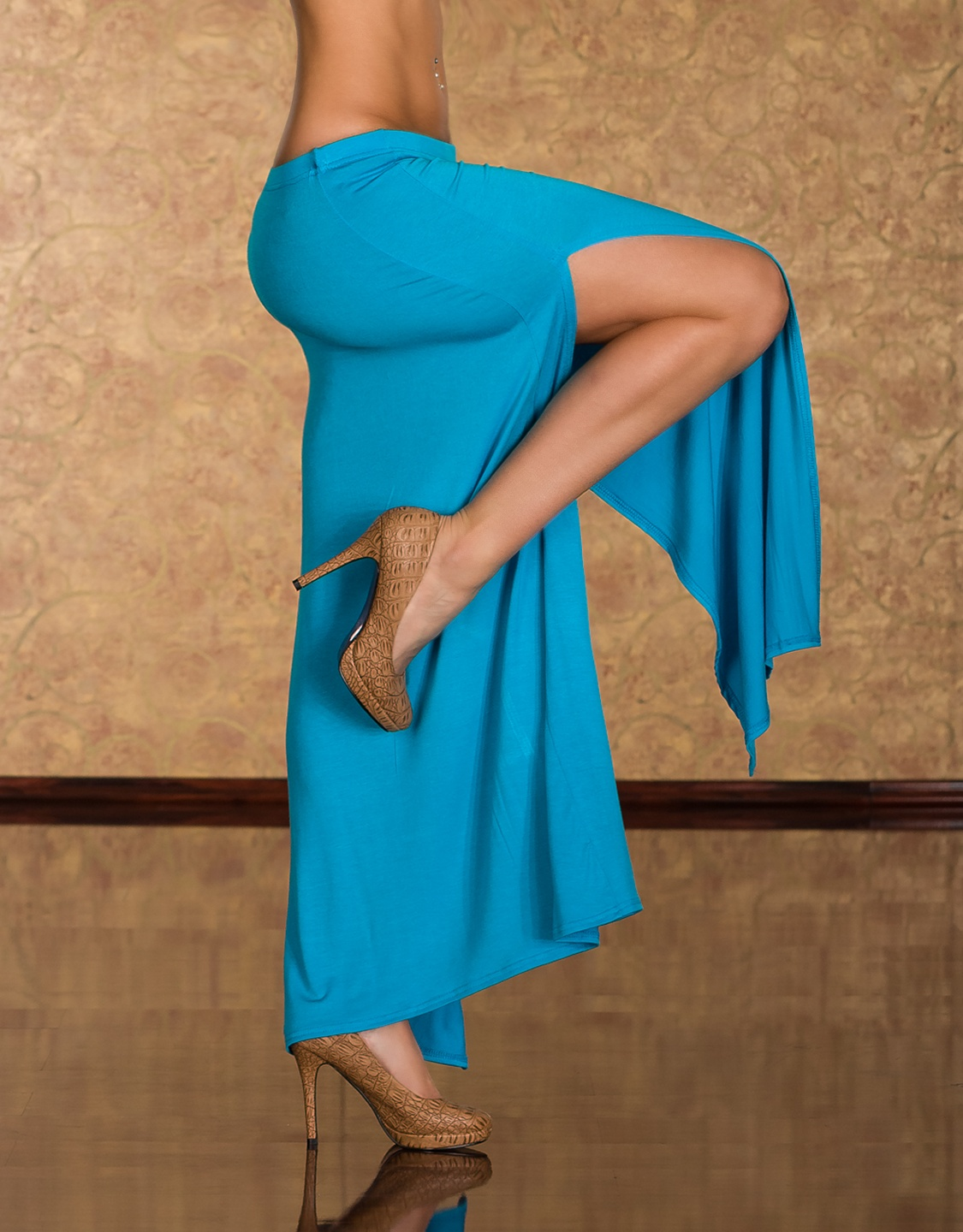 Turquoise Long Skirt With Vertical Cuts