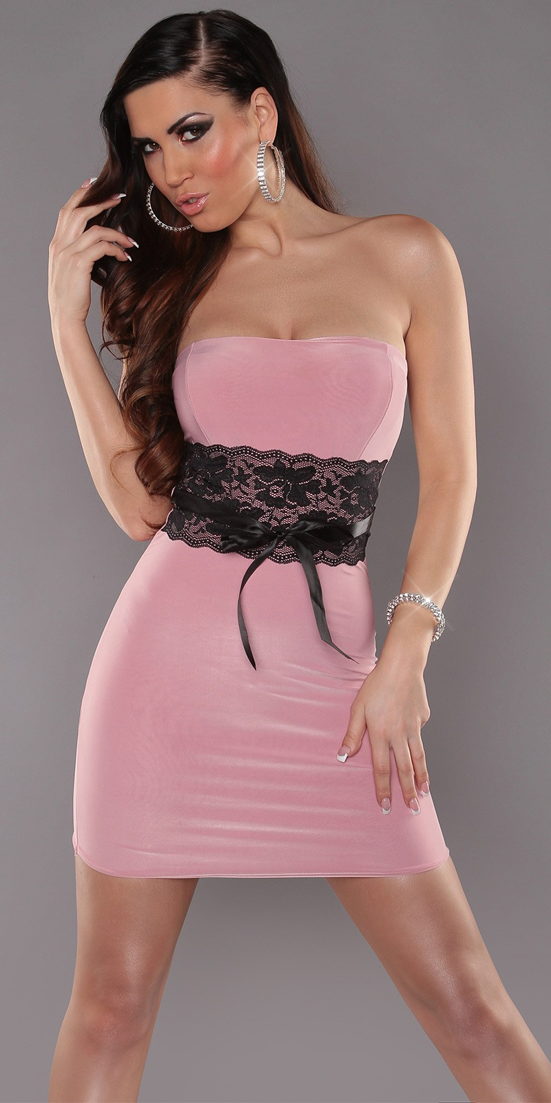 Pink Sexy Strapless Dress With Lace Waistband