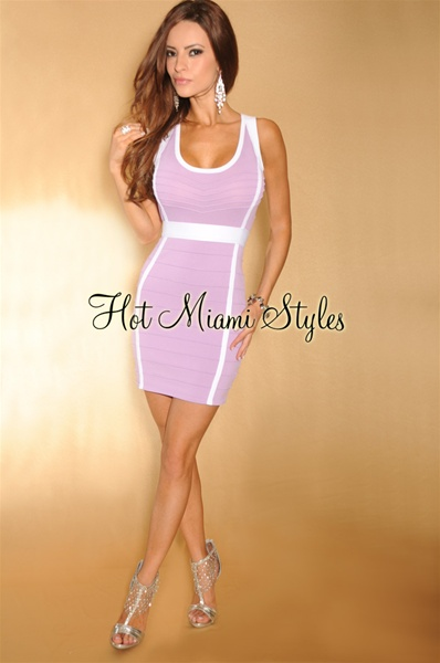 Lavender White Trim Key-Hole Back Bandage Dress
