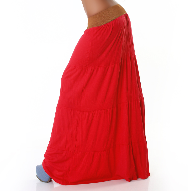 Red Belted Long Skirt