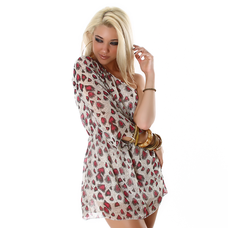 Red Peacock Print One Sleeve Short Dress