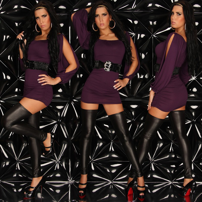 Plum Sexy Open Sleeve Longshirt-Minidress With Belt