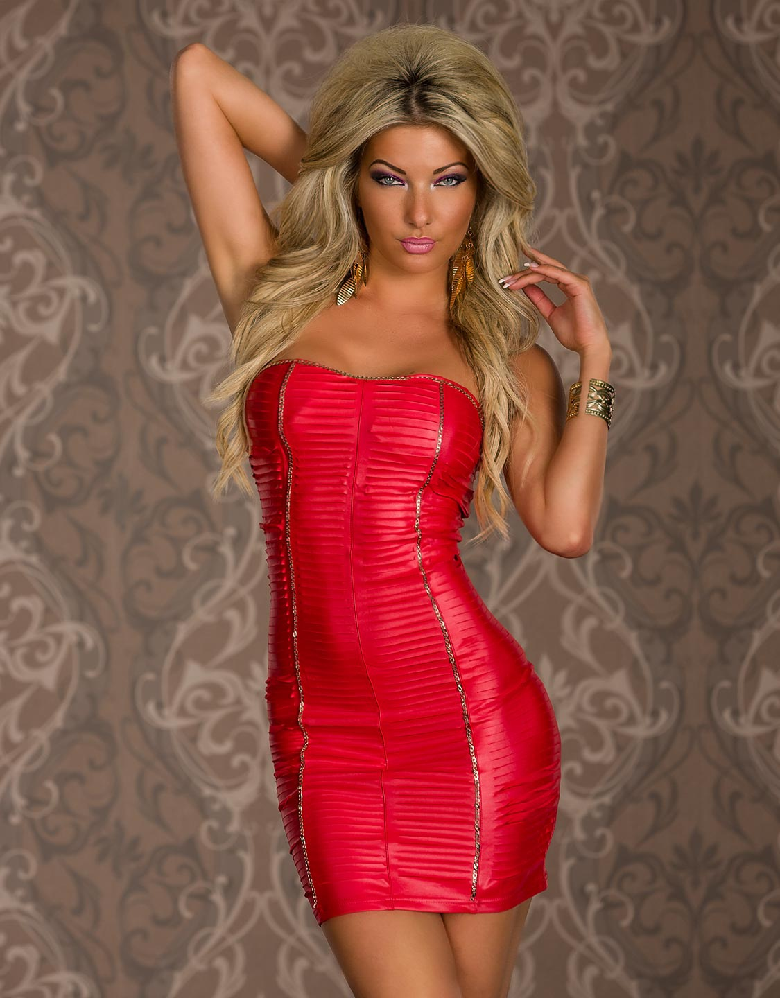 Red Strapless Textured Mini Dress With Gold Stripes