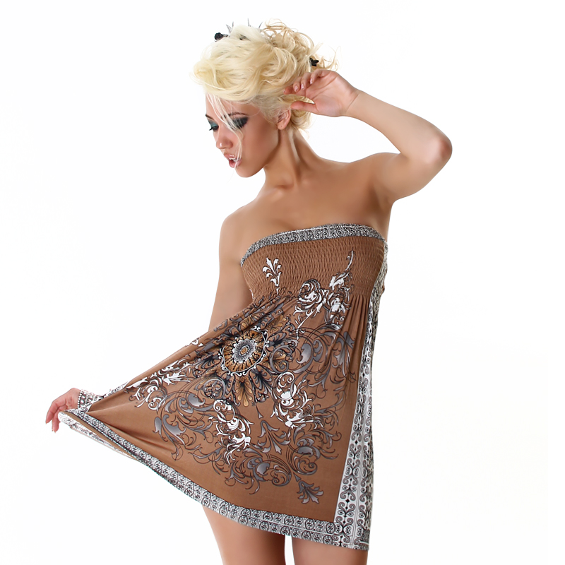Brown Strapless Summer Dress With Ornament