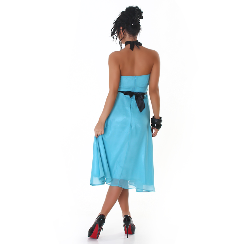 Turquoise Strapless Bell-Shaped Belted Midi Coctail Dress