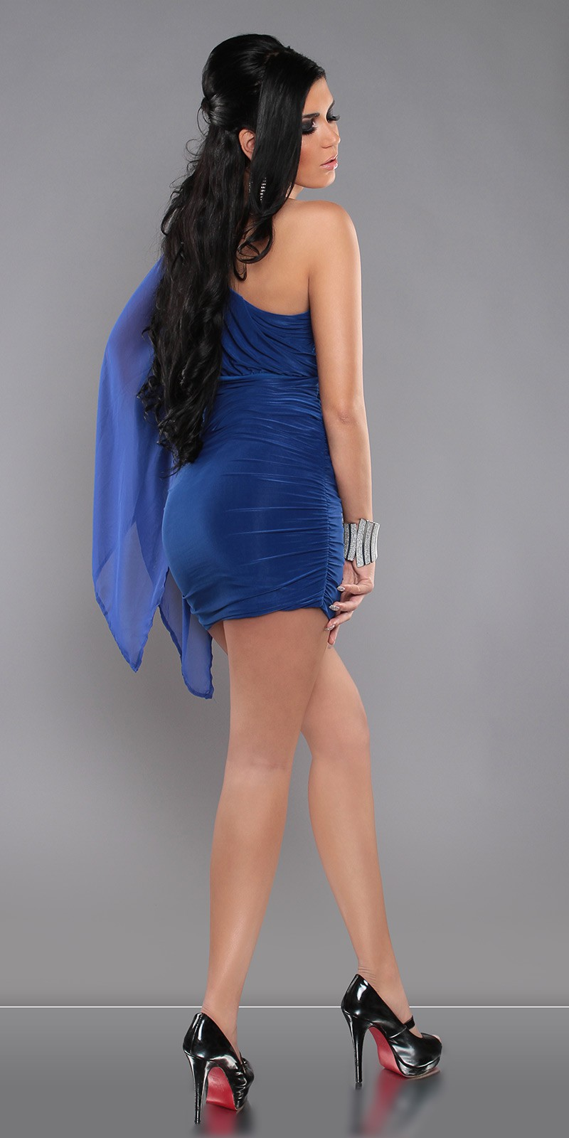 Blue Sexy KouCla One-Arm Minidress