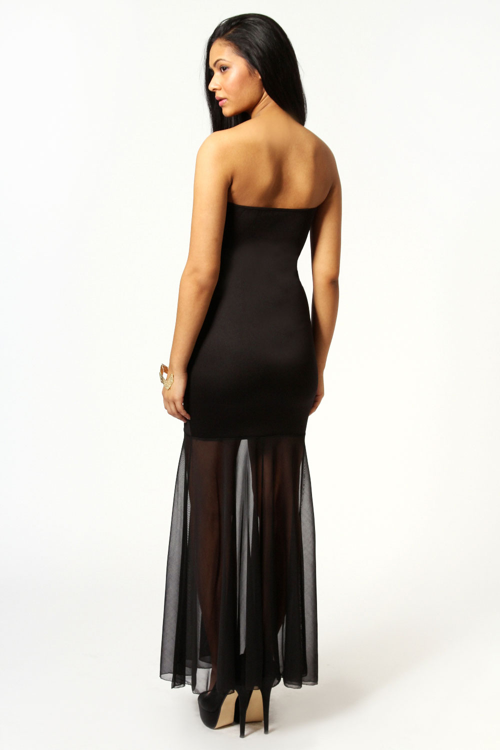 Black Tamsin Bandeau Chiffon Fishtail Maxi Dress