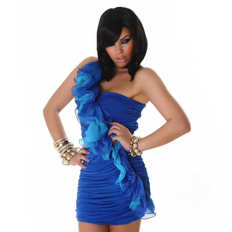 Blue Dress With Diagonal Double Frill