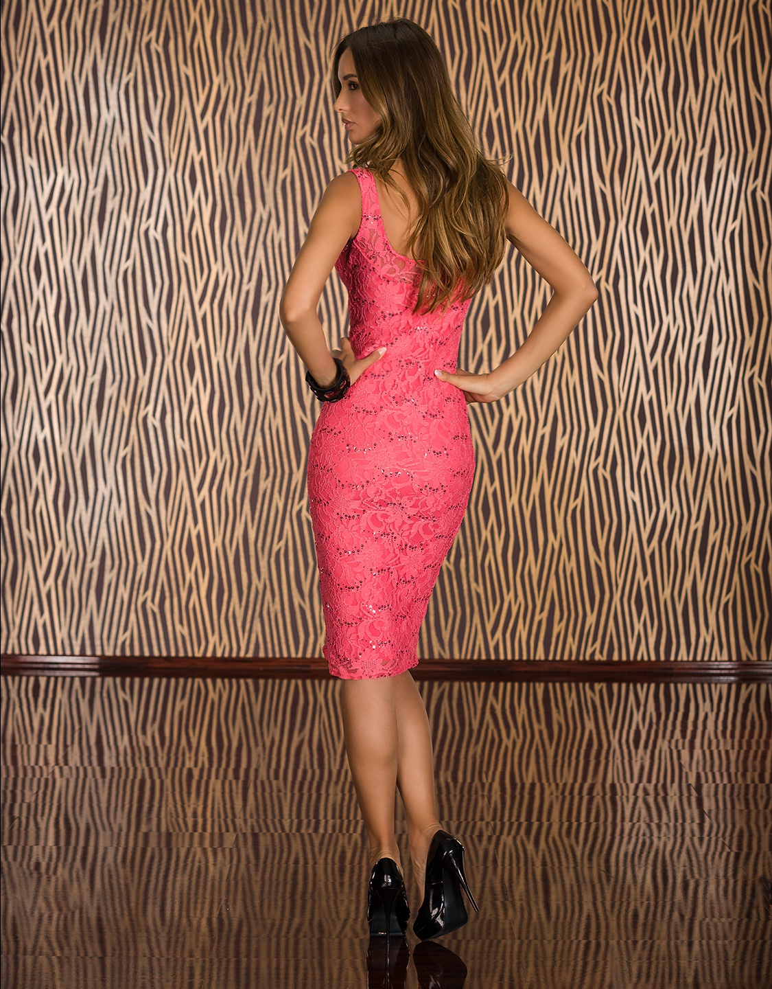 Coral Lace Sleeveless Midi Dress With Sequins