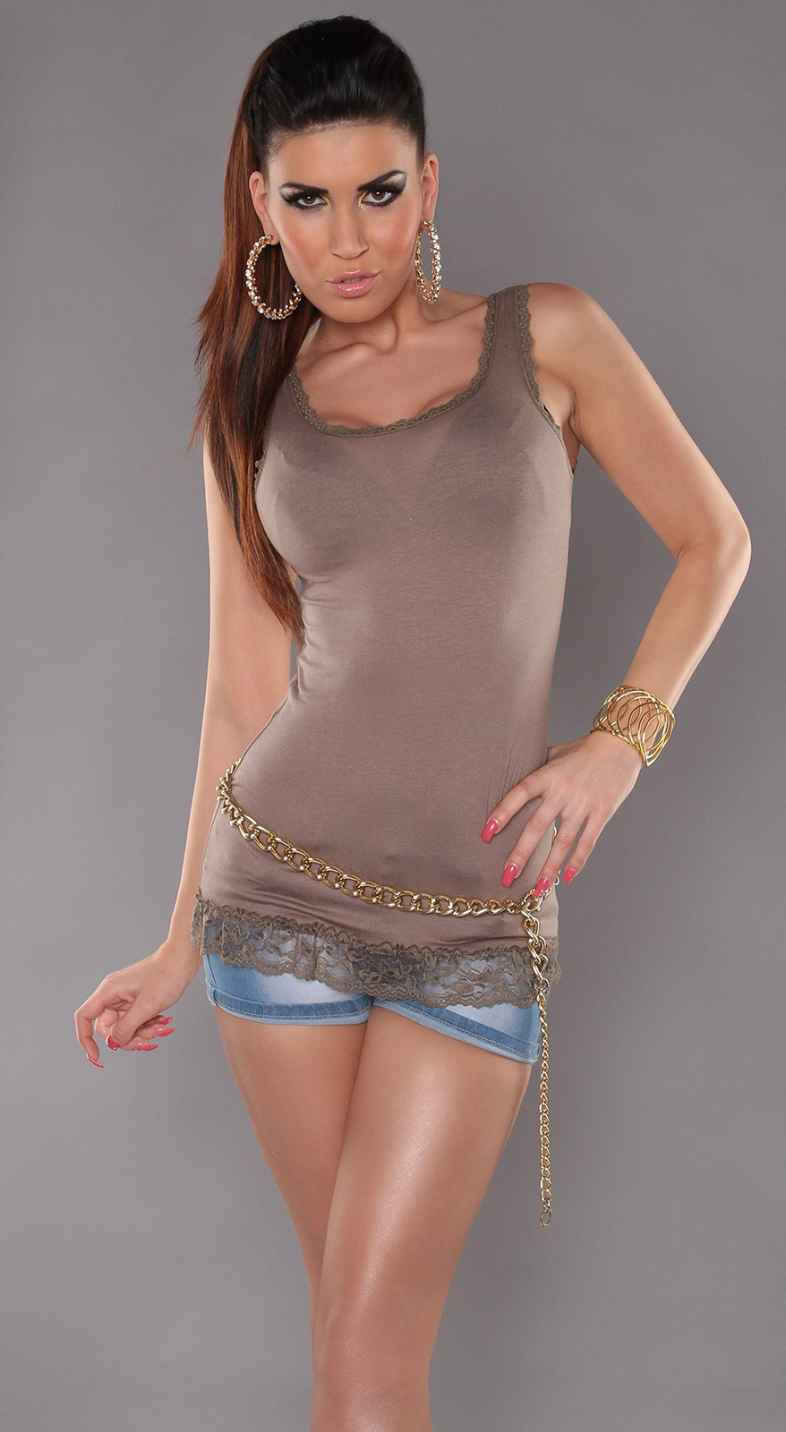 Cappuccino Tank Top With Lace