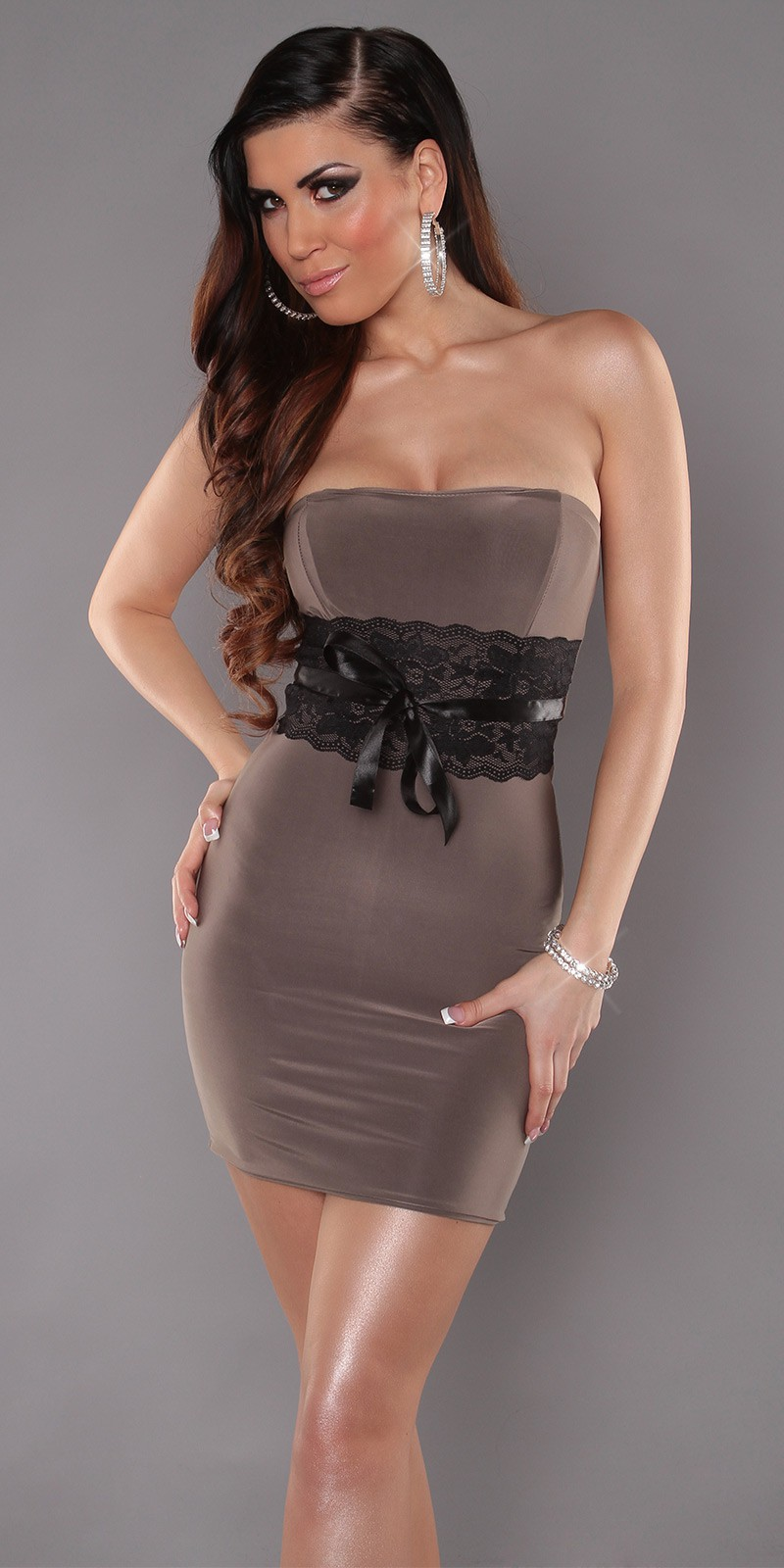 Brown Sexy Strapless Dress With Lace Waistband