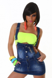 Jeans Skirt With Suspenders And Zipper
