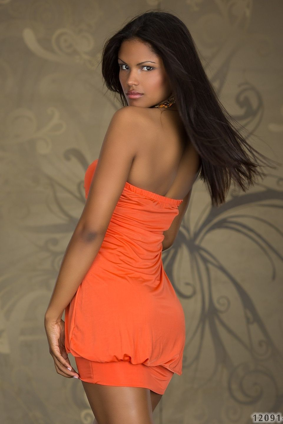 Orange Sequined Strapless Club Dress