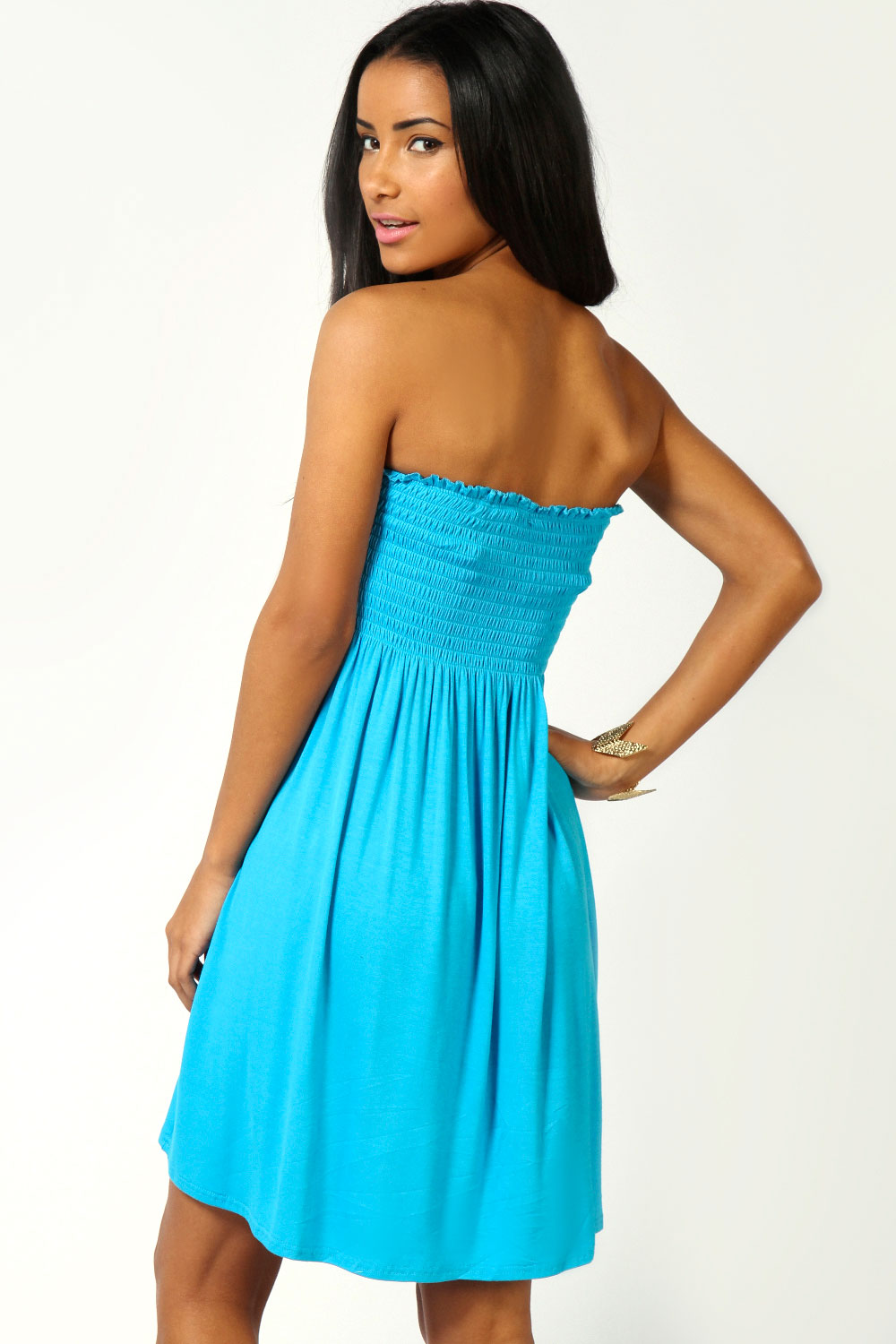 Blue Lucy Shirred Bandeau Short Beach Dress