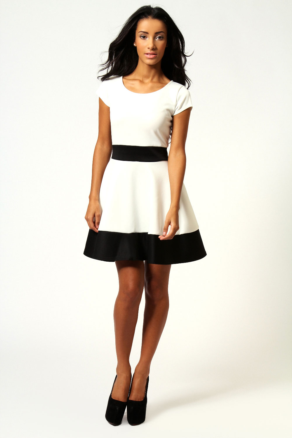 Ivory Claire Colour Block Skater Dress