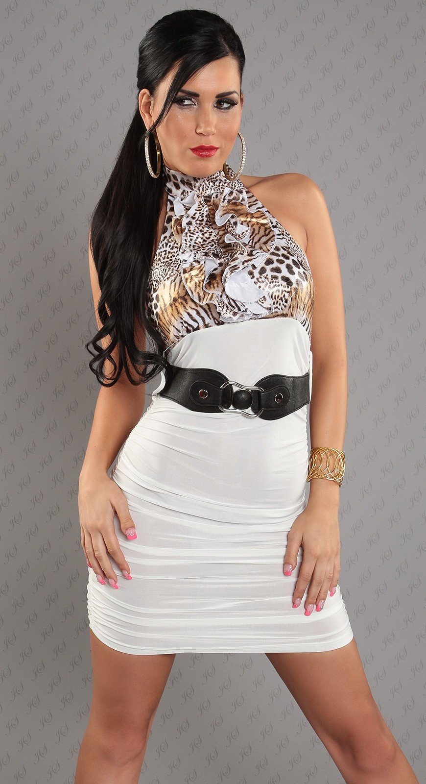 White Leopard Top Ruched Belted Dress