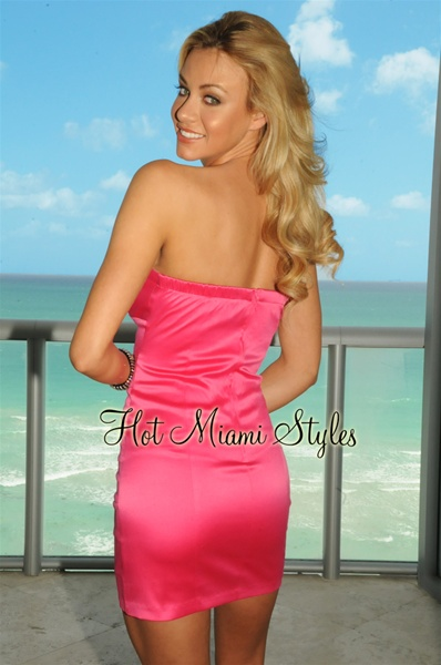 Black Pink Satin Strapless Dress