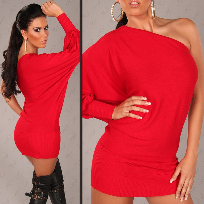Red Sexy Onesleeve Batlook Longsweater-Minidress