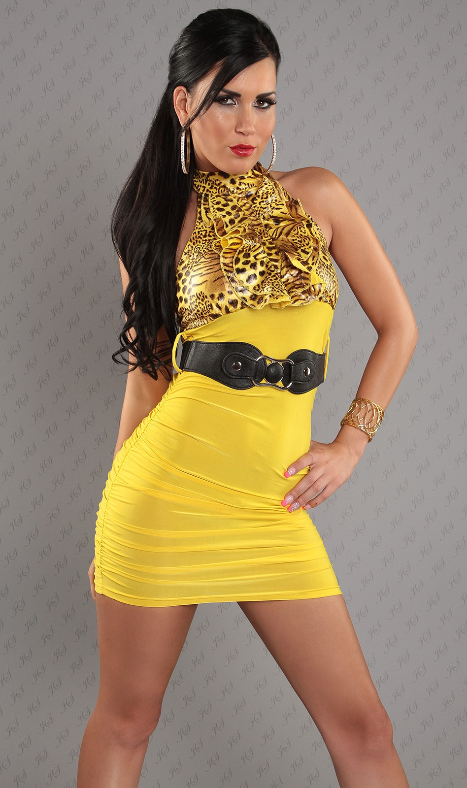 Yellow Leopard Top Ruched Belted Dress