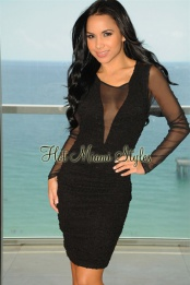 Black Tweed Mesh Long Sleeve Dress