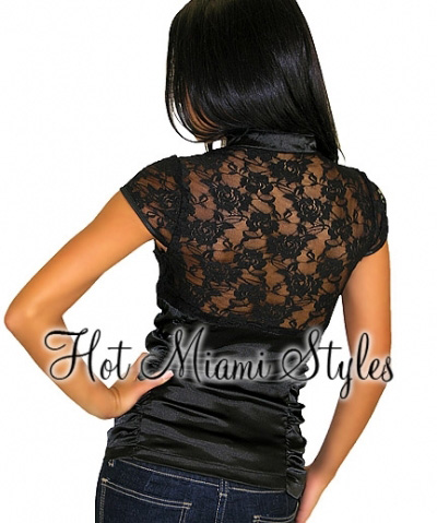 Black Asian Satin Lace Mock Neck Top