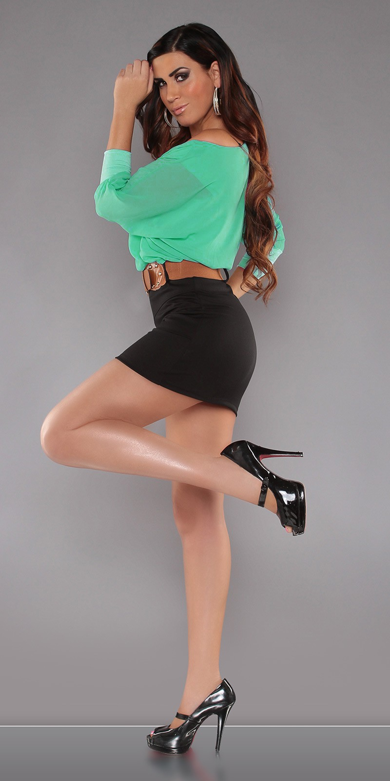 Green Top Black Skirt Off-Shoulder Belted Dress