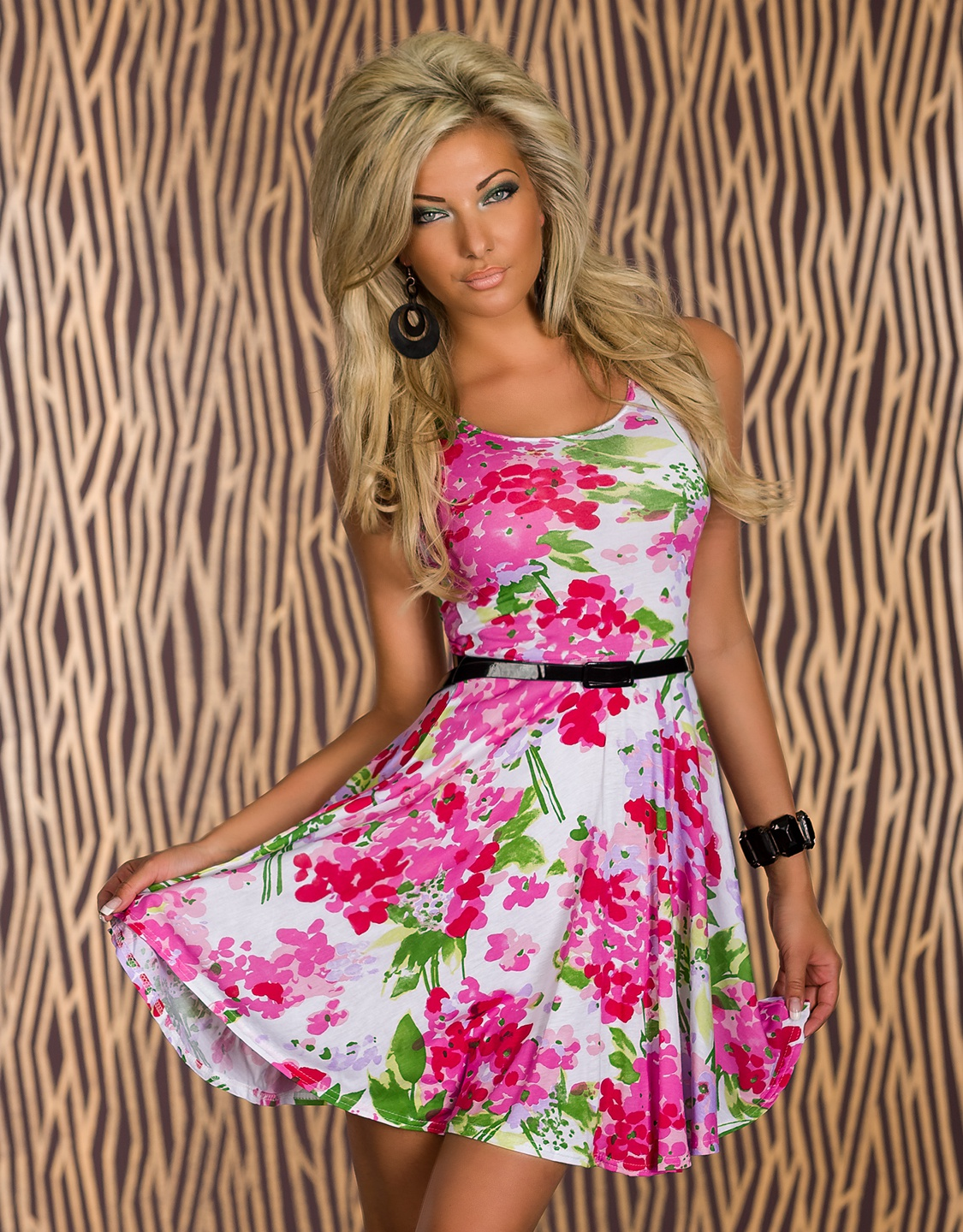 White-Pink Flower Print Belted Summer Dress
