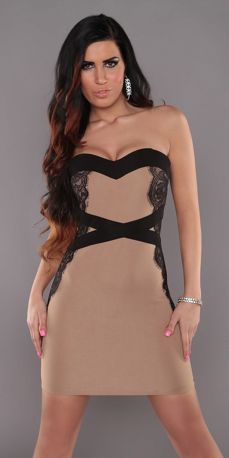 Beige Sexy Bandeau-Minidress With Lace