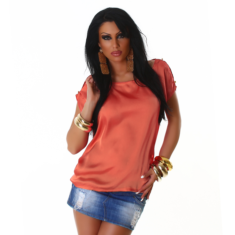 Coral Satin Crew Neck Blouse