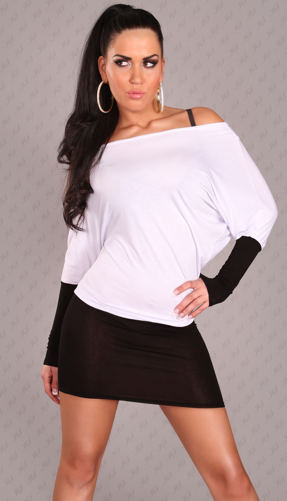 Black-White Two-Color Off-Shoulder Dress
