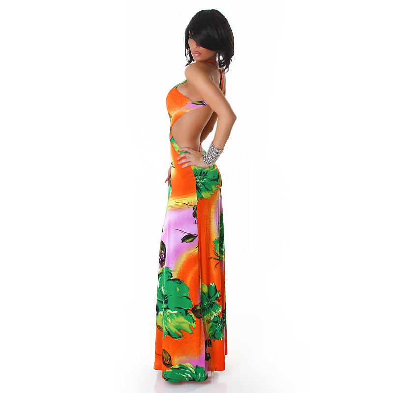 Orange Flower Print Criss-Cross Straps Long Summer Dress