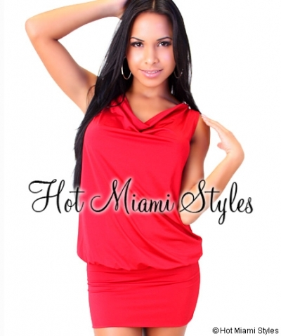 Red Drape Back Beaded Mini Dress