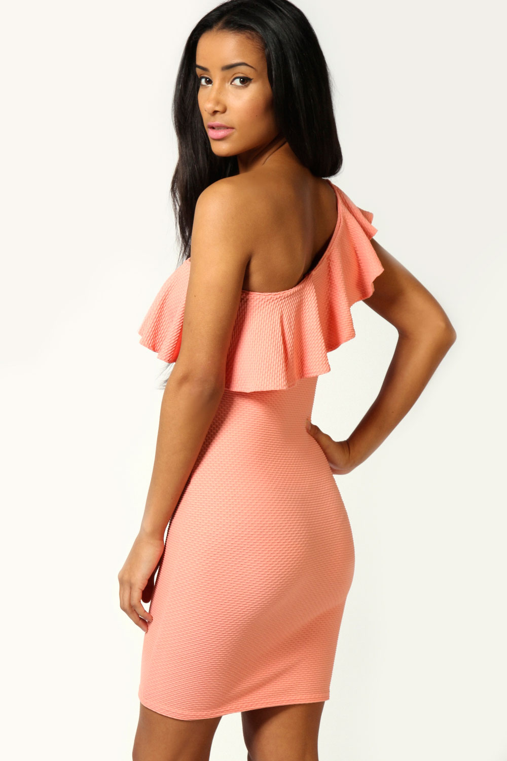 Coral Felicity One Shoulder Textured Bodycon Dress