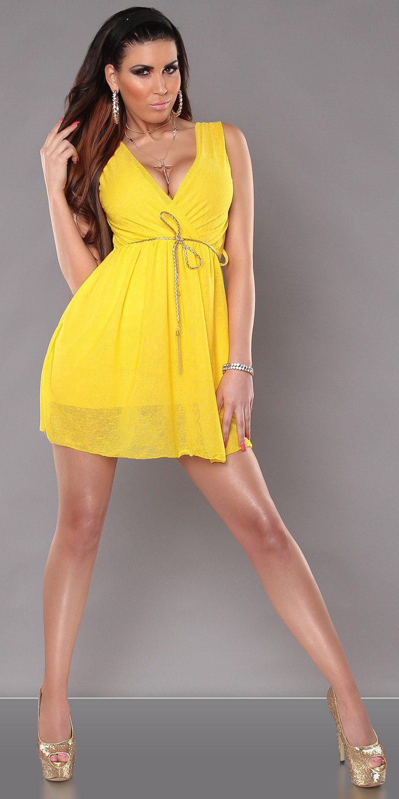 Yellow Sexy KouCla Minidress With V-Neck Snd Belt