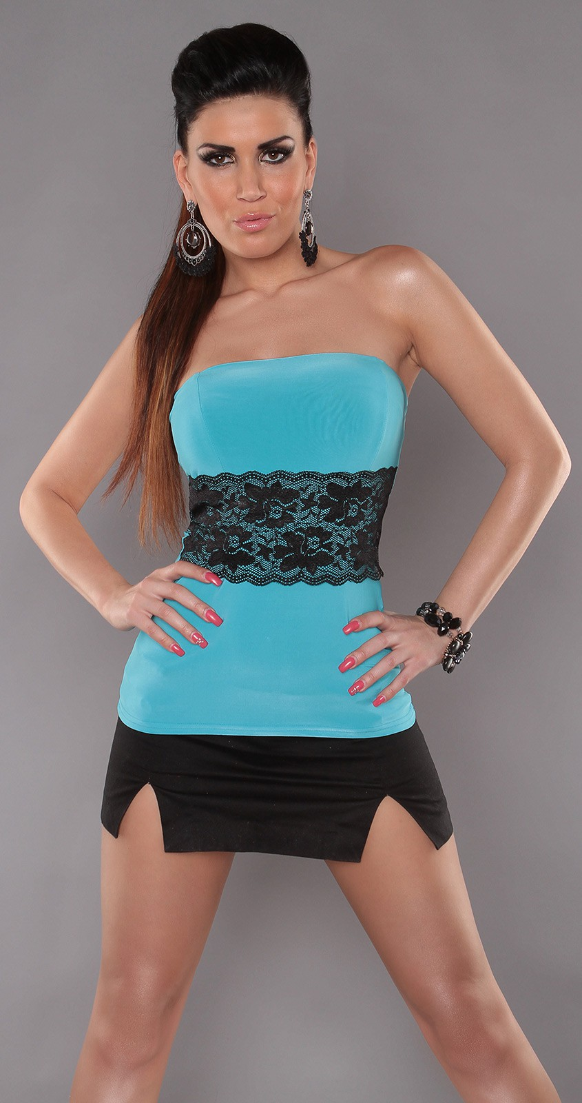 Turquoise Sexy Strapless Top With Lace Waistband