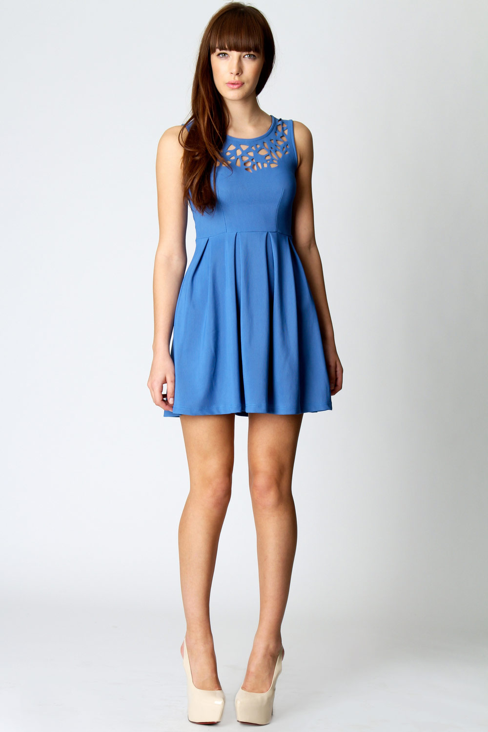 Blue Esther Laser Cut Detail Fit And Flare Dress