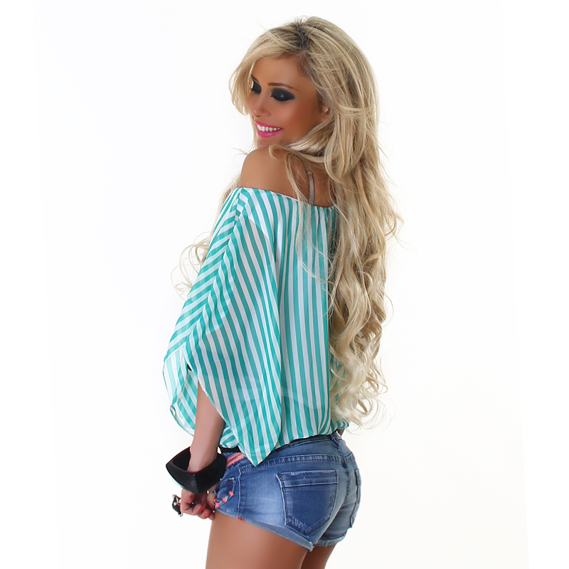Turquoise Striped Off-Shoulder Top