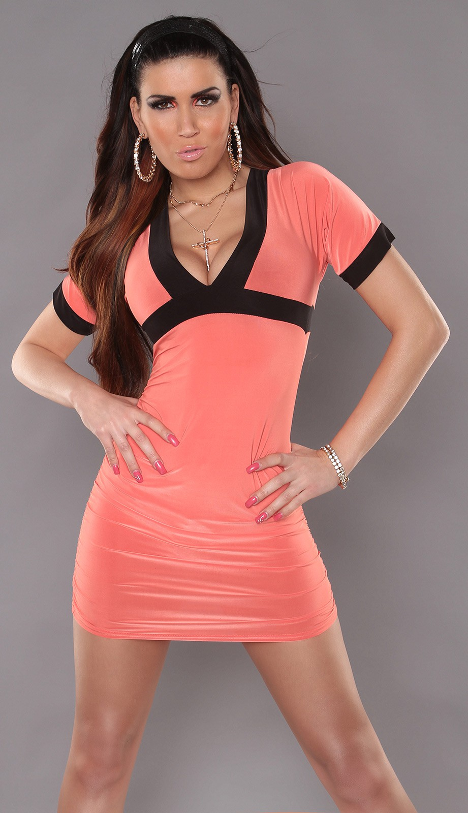 Coral Sexy Minidress With V-neck