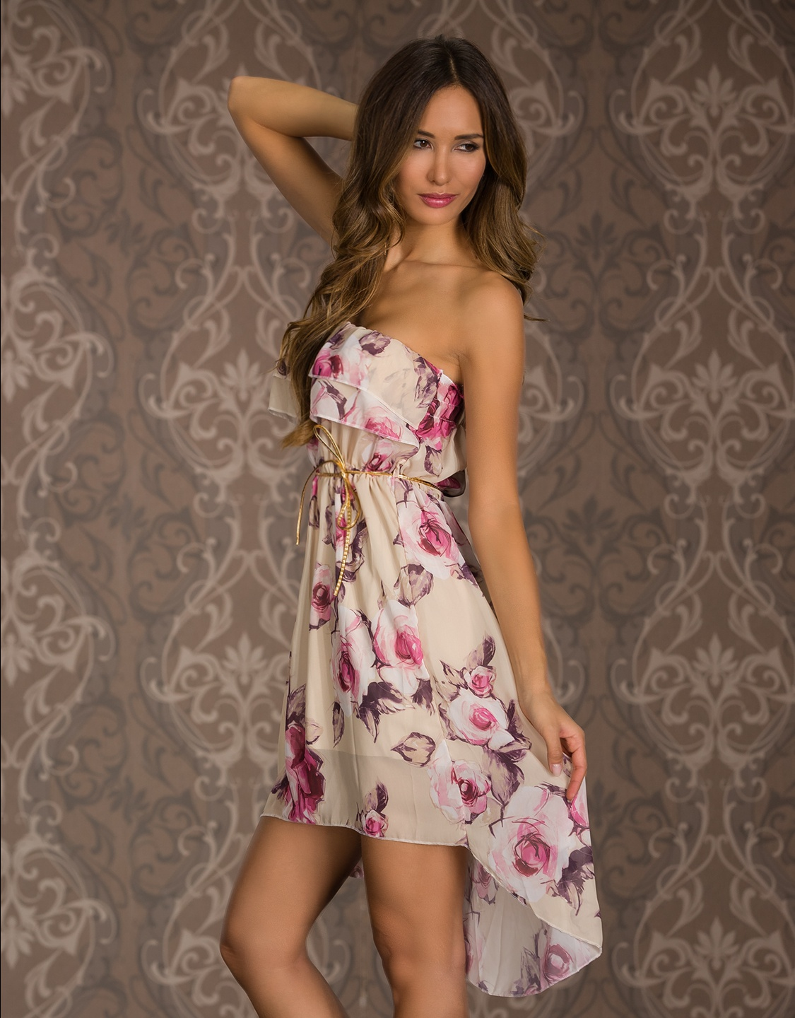 Cream High-Low Floral Flounced Strapless Summer Dress