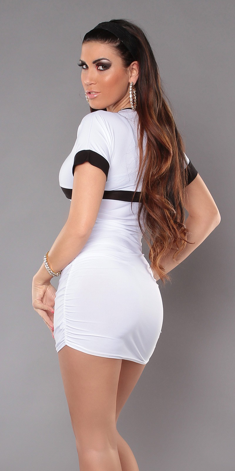 White Sexy Minidress With V-neck