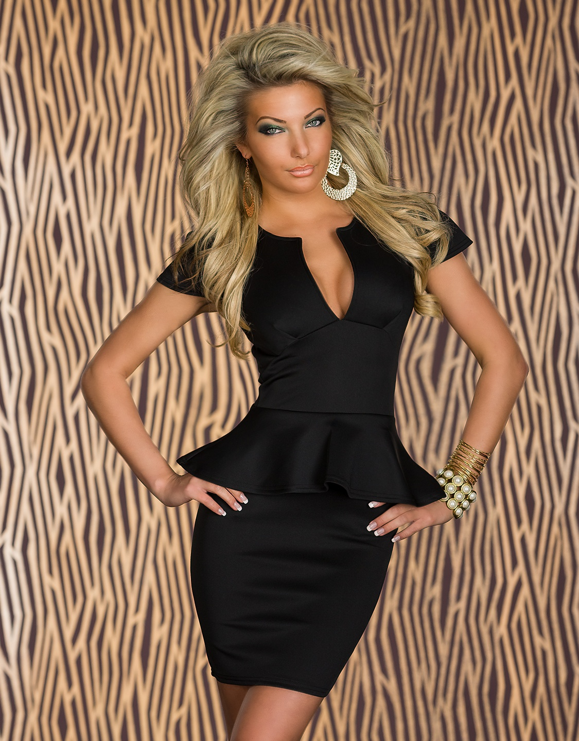 Black Cut Low-Necked Peplum Dress With Short Sleeves