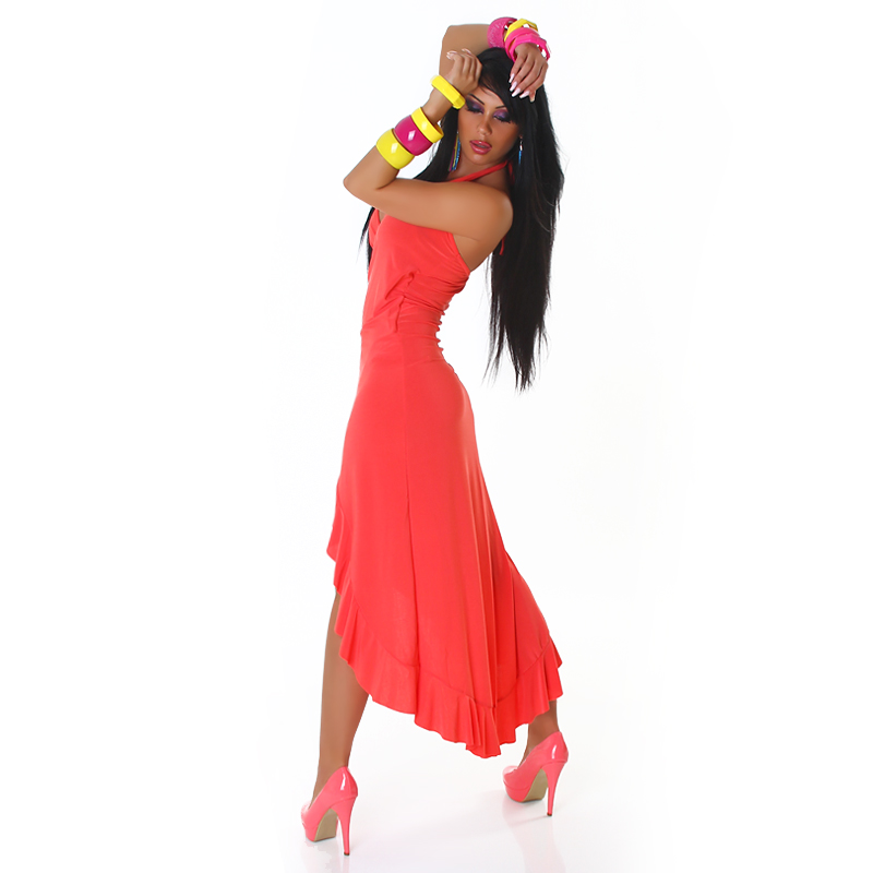 Coral Carmen Summer Dress
