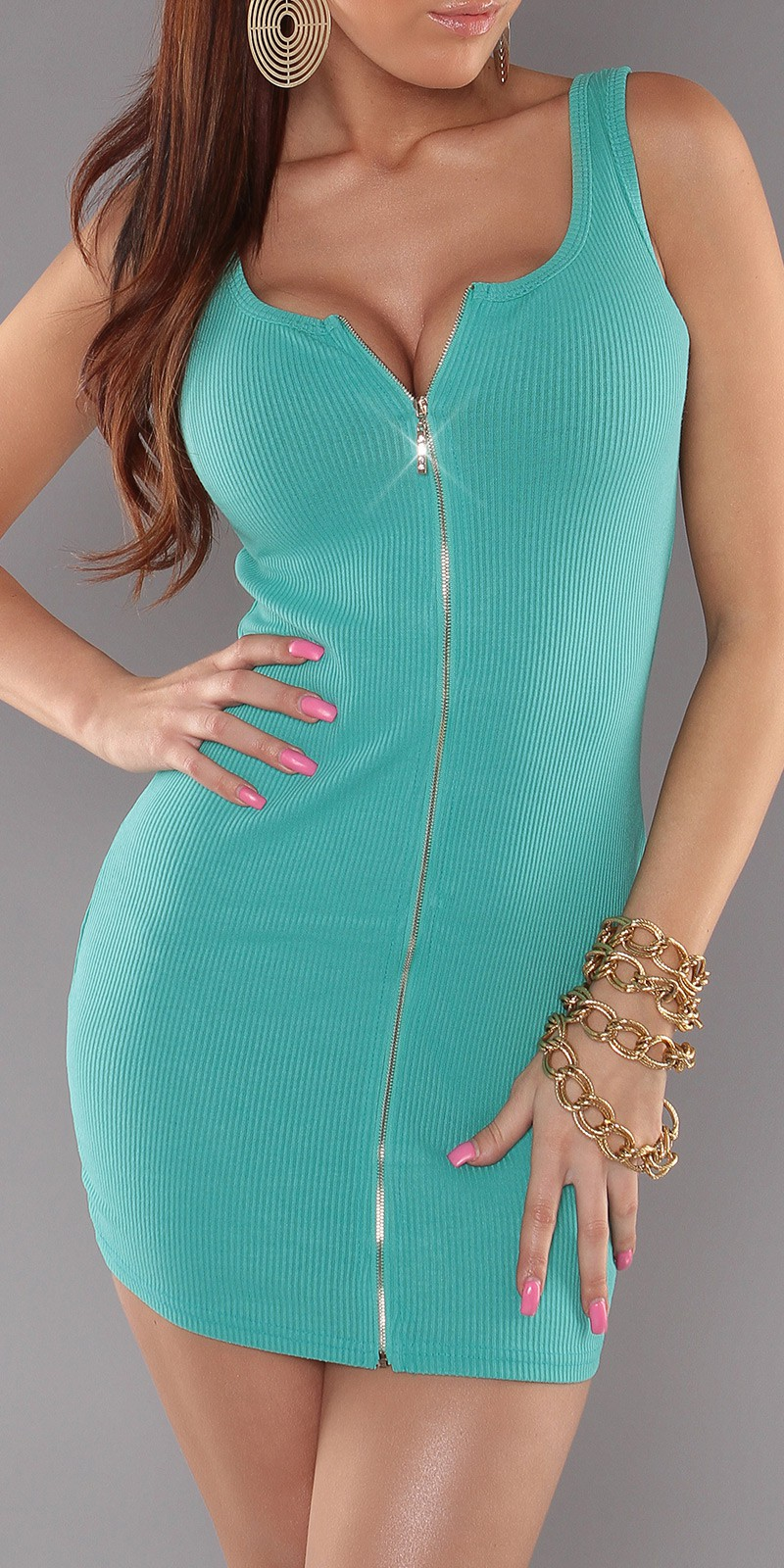 Mint Sexy Minidress With Zipper